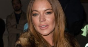LONDON, ENGLAND - FEBRUARY 21:  Lindsay Lohan attends the Gareth Pugh show during London Fashion Week Fall/Winter 2015/16 at Victoria & Albert Museum on February 21, 2015 in London, England.  (Photo by Ian Gavan/Getty Images)